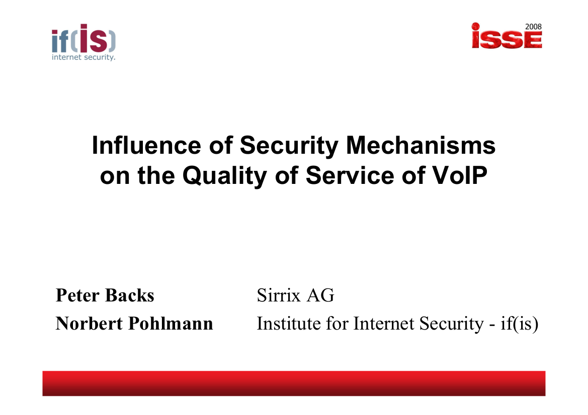 205-Influence-of-Security-Mechanisms-on-the-Quality-of-Service-of-VoIP-Prof.-Norbert-Pohlmann