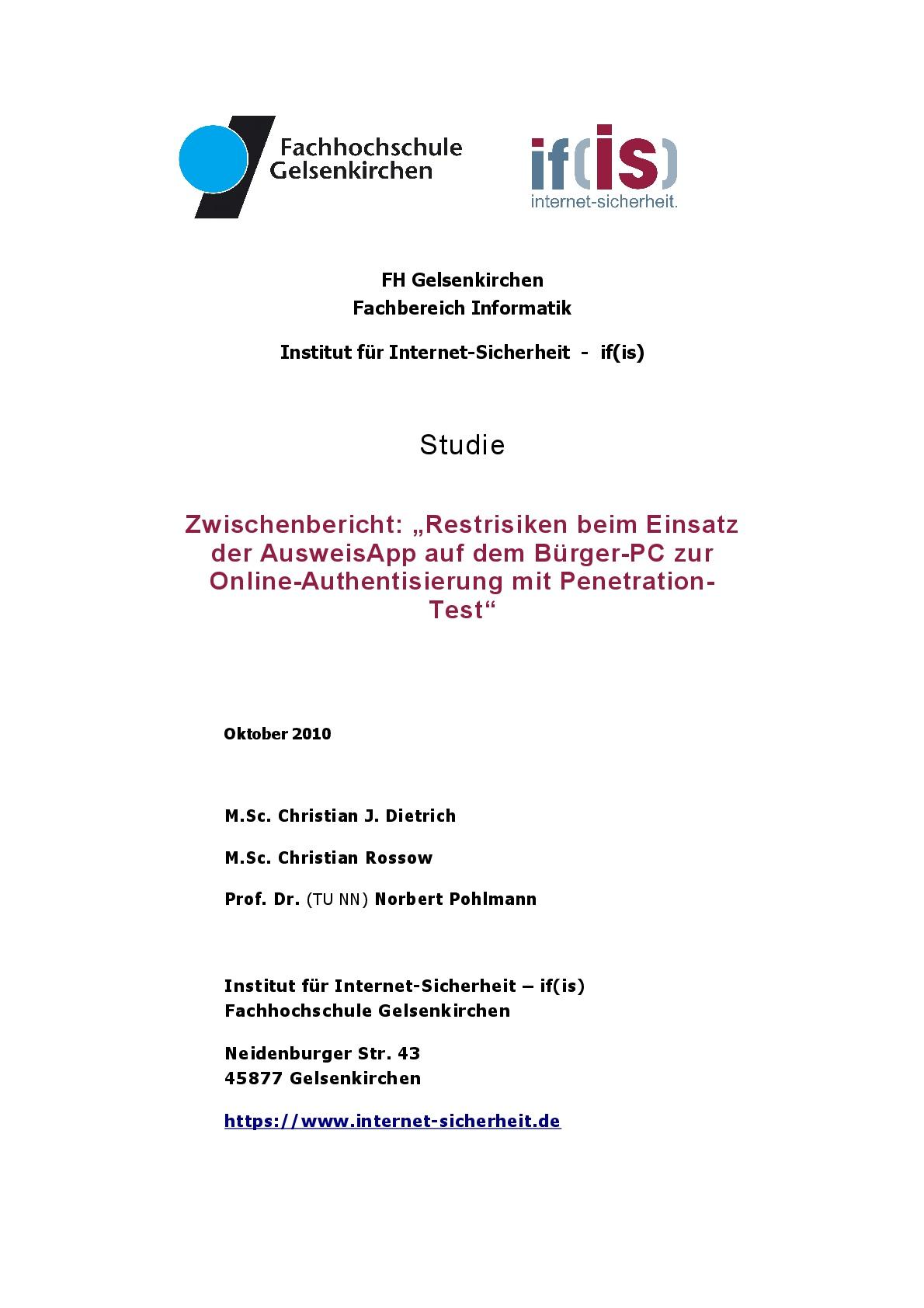 Studie - Restrisiken beim Einsatz der AusweisApp auf dem Bürger-PC zur Online-Authentisierung mit Penetration-Test - Prof. Norbert Pohlmann-1-1-001