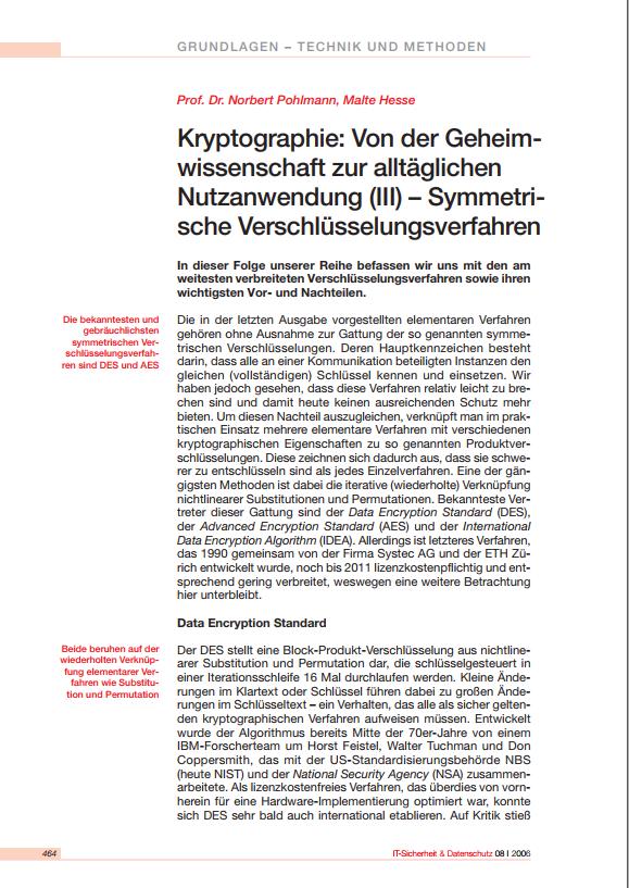 """181-""""Kryptographie-III-Von-der-Geheimwissenschaft-zur-alltäglichen-Nutzanwendung-–-Symmetrische-Verschlüsselungsverfahren-Prof.-Norbert-Pohlmann"""