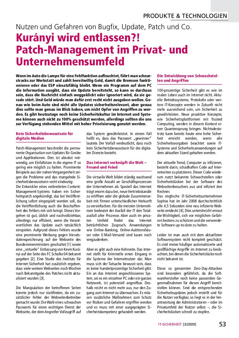 245-Kurányi-wird-entlassen-–-Patch-Management-im-Privat-und-Unternehmensumfeld-–-Nutzen-und-Gefahren-von-Bugfix-Update-Patch-und-Co.-Prof.-Norbert-Pohlmann