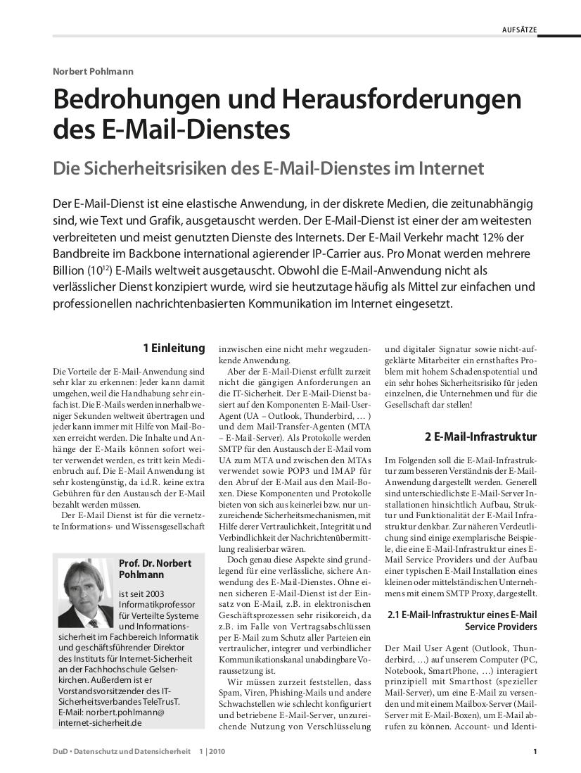 266-Bedrohungen-und-Herausforderungen-des-E-Mail-Dienstes-–-Die-Sicherheitsrisiken-des-E-Mail-Dienstes-im-Internet-Prof.-Norbert-Pohlmann