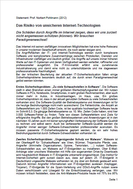 Statement-Risiko-von-unsicheren-Internet-Technologien-Prof.-Norbert-Pohlman-2012