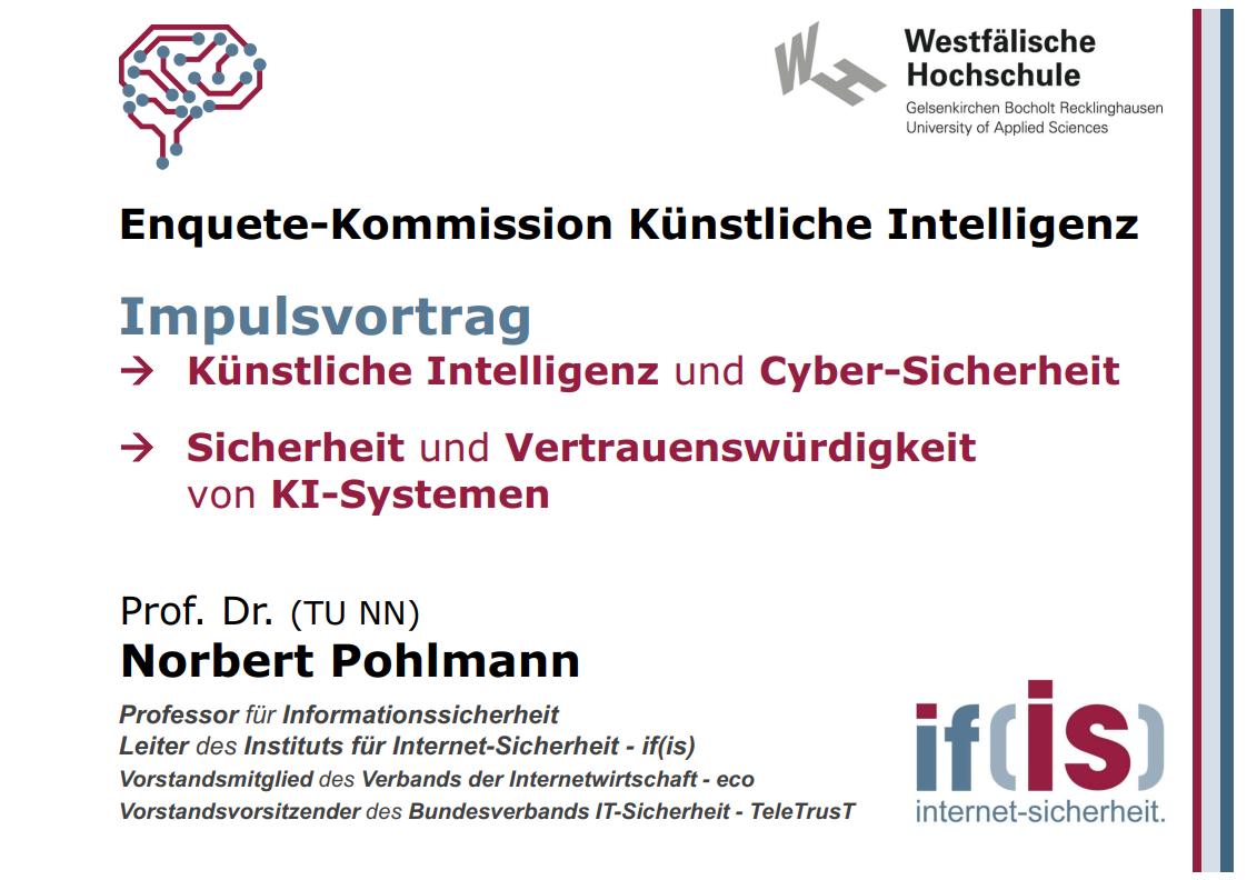 367 - Sicherheit und Vertrauenswürdigkeit von KI-Systemen - Prof. Norbert Pohlmann