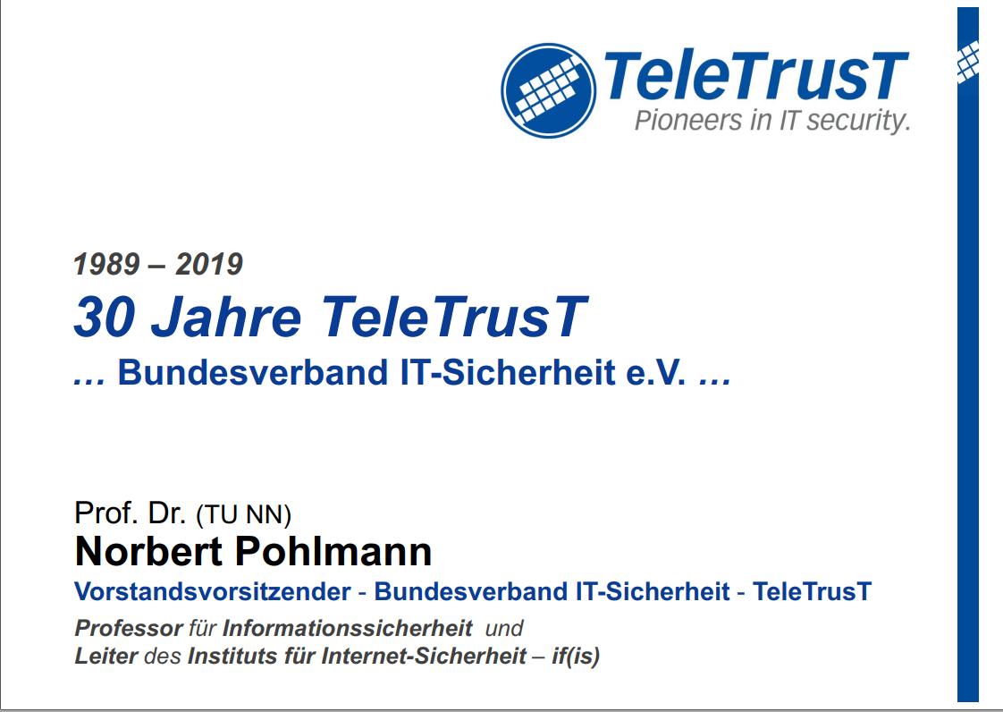 369 - 30 Jahre TeleTrusT - Bundesverband IT-Sicherheit - Prof. Norbert Pohlmann