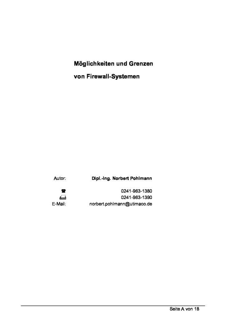 Artikel - Möglichkeiten und Grenzen von Firewall-Systemen - - Prof. Norbert Pohlmann