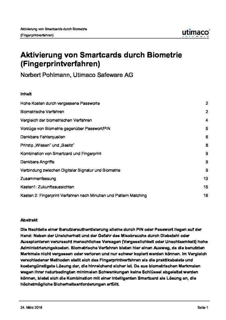 Artikel - Aktivierung von Smartcards durch Biometrie - Prof. Norbert Pohlmann