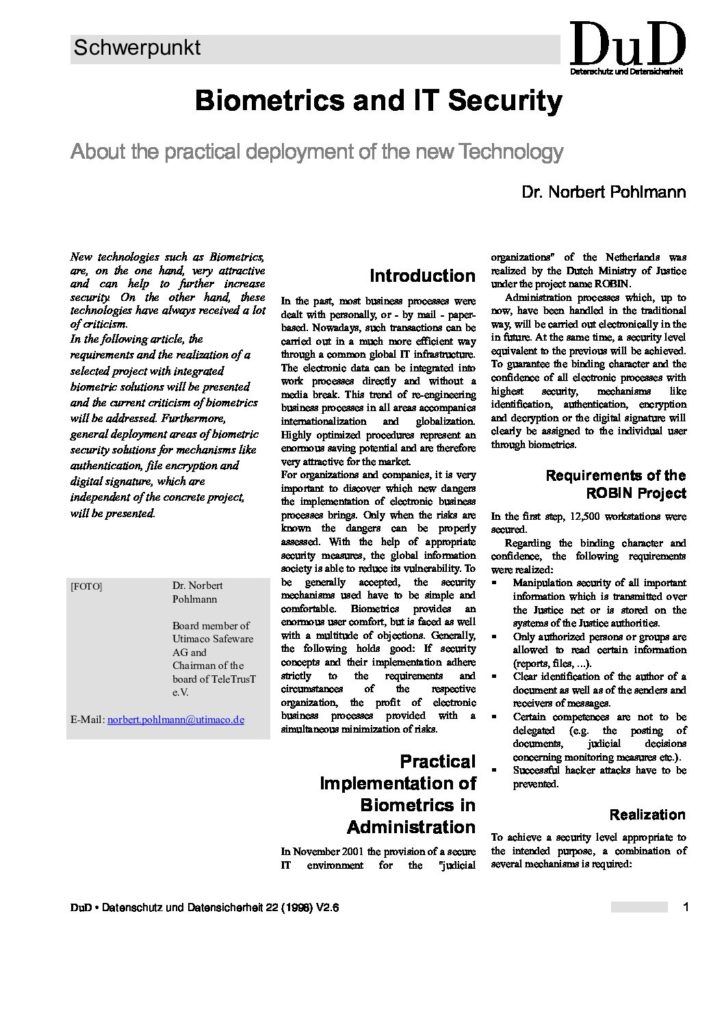 Artikel Biometrics-and-IT-Security-About-the-practical-deployment-of-the-new-Technology - Prof. Norbert Pohlmann
