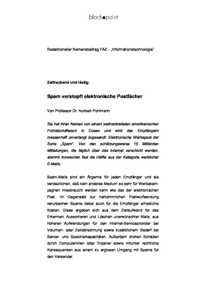 Artikel - Werbe-Mails Spam - Prof. Norbert Pohlmann