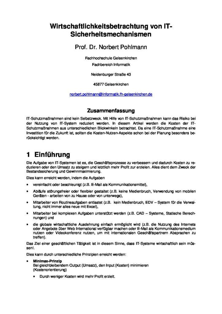 Artikel - Wirtschaftlichkeitsbetrachtung von IT-Sicherheitsmechanismen - Prof. Norbert Pohlmann