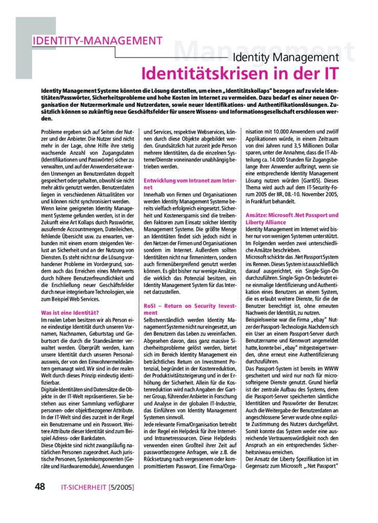 Artikel - Identitätskrisen in der IT - Prof. Norbert Pohlmann