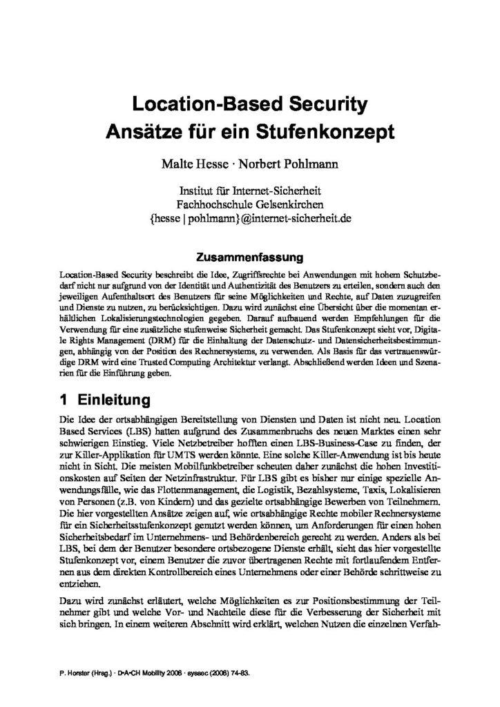 ArtikeArtikel - Location Based Security - Prof. Norbert Pohlmann