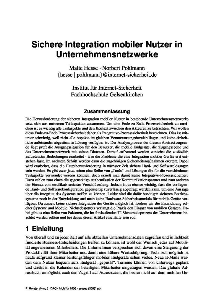 Artikel - Sichere Integration mobiler Nutzer in Unternehmensnetzwerke - Prof. Norbert Pohlmann