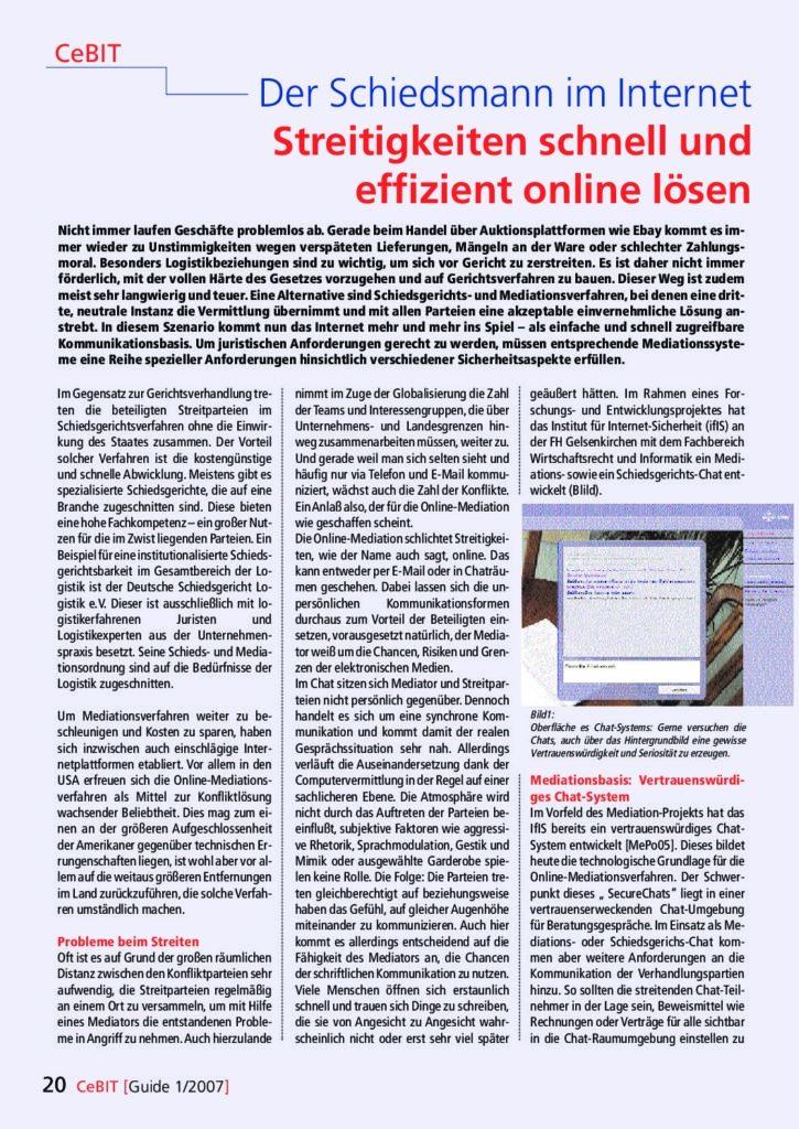 Artikel - Der Schiedsmann im Internet Streitigkeiten schnell und effizient online lösen - Prof. Norbert Pohlmann