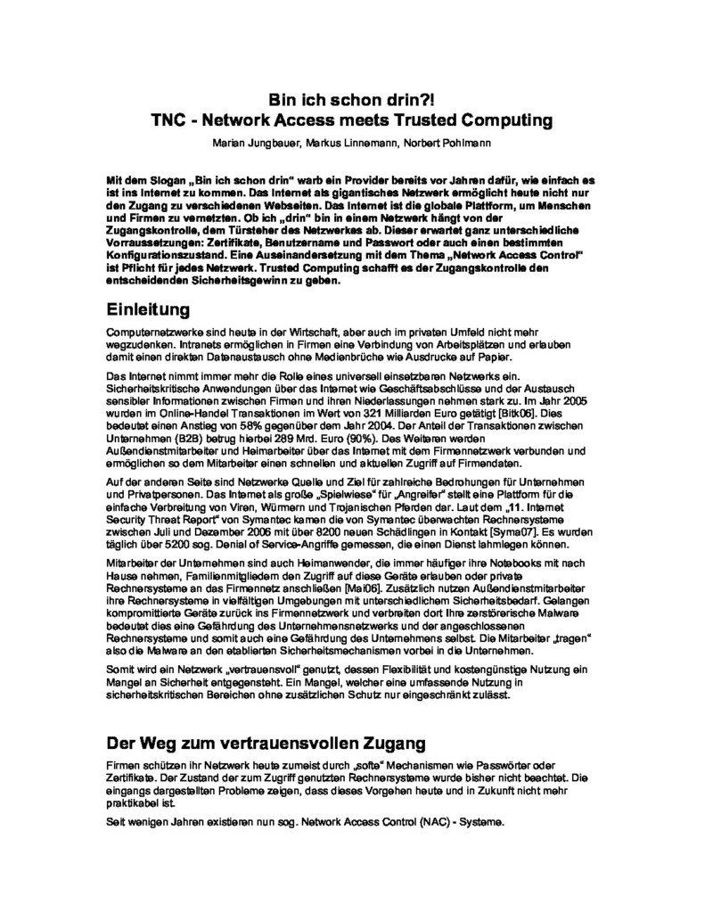 Arttikel - Bin ich schon drin TNC - Prof. Norbert Pohlmann