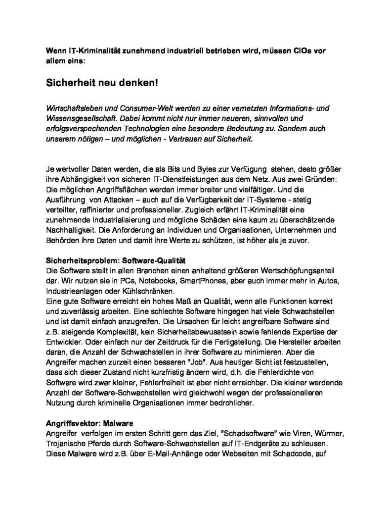 Artikel - Sicherheit neu denken - Prof. Norbert Pohlmann