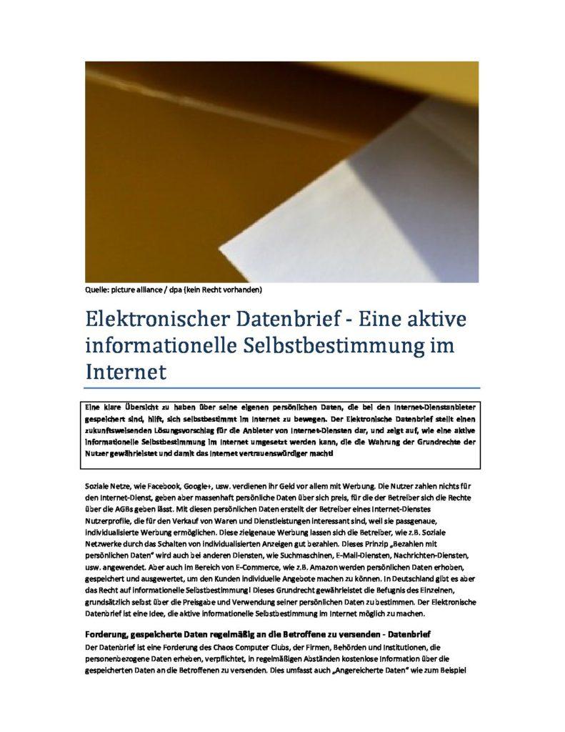 Elektronischer Datenbrief - Prof. Norbert Pohlmann