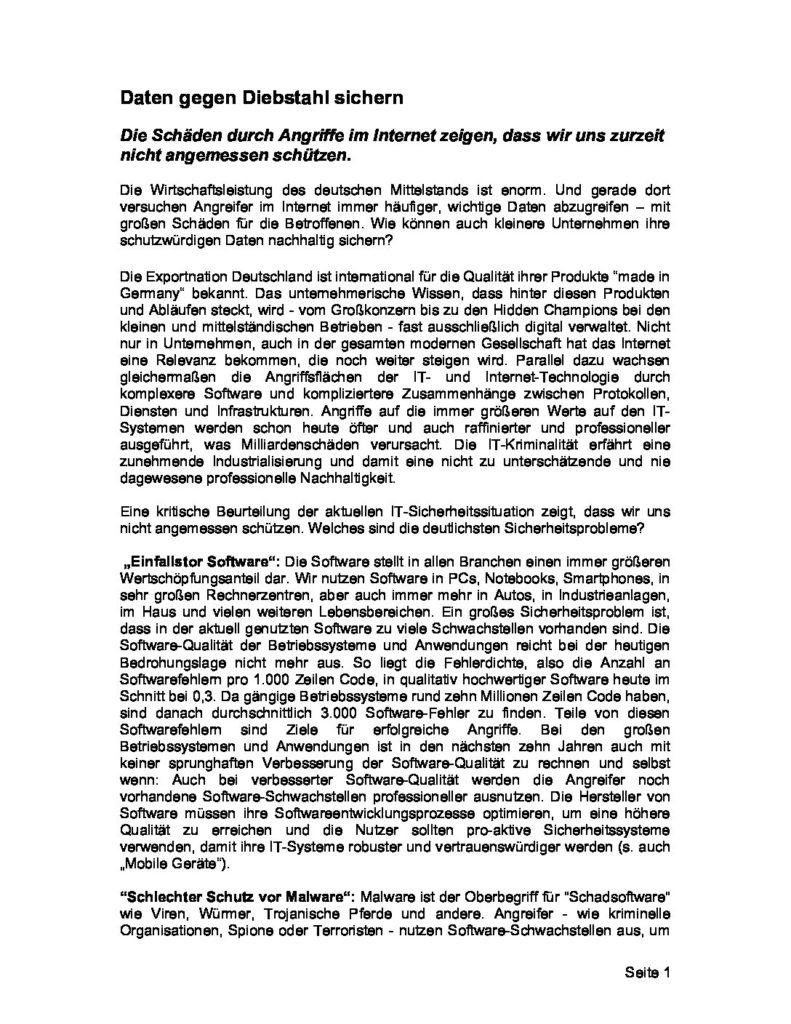 Artikel - Daten gegen Diebstahl sichern - Prof. Norbert Pohlmann