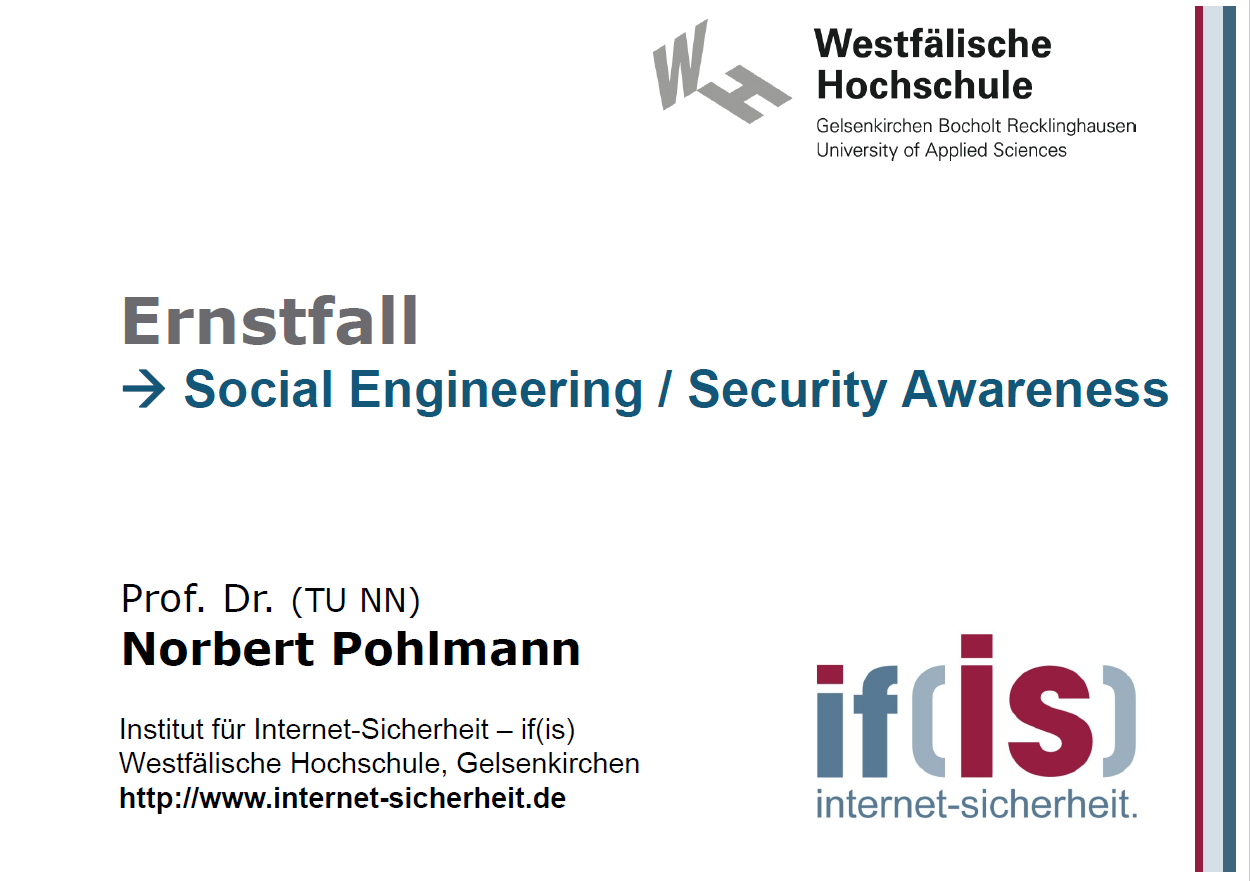 373 - Ernstfall - Social Engineering - Security Awareness - Prof. Norbert Pohlmann