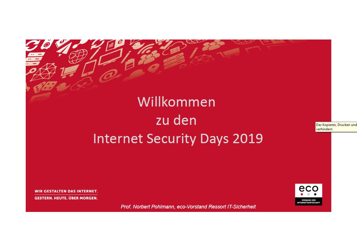 377 - Internet Security Days 2019 - IT-Sicherheitseinschätzung - Prof. Norbert Pohlmann