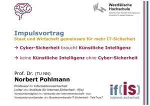 Cyber-Sicherheit braucht Künstliche - Vortrag - Prof. Norbert Pohlmann