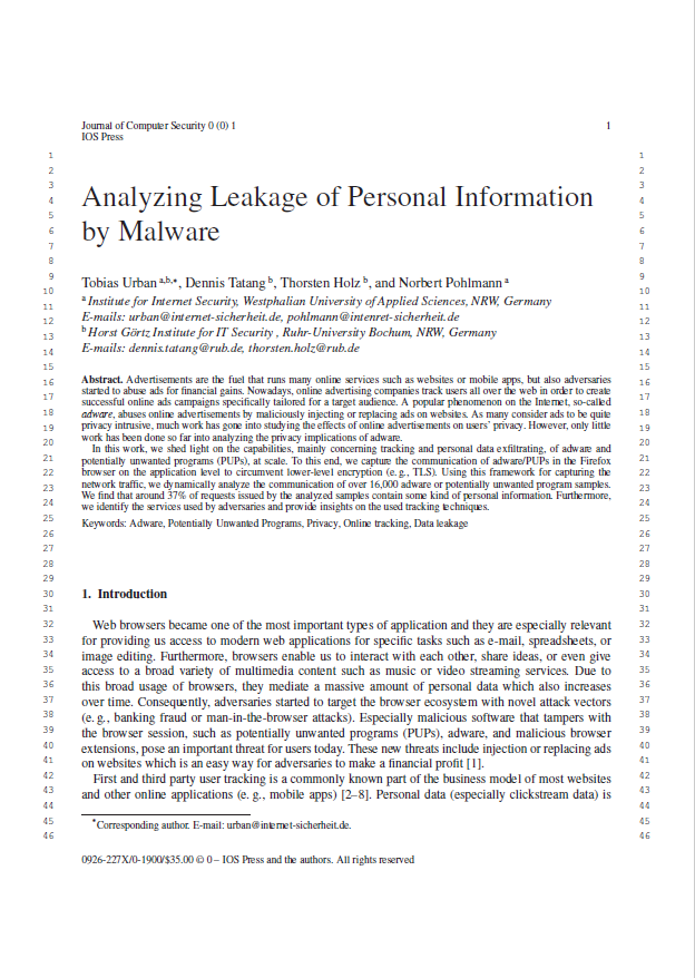 Artikel - Analyzing Leakage of Personal Information by Malware - Prof. Norbert Pohlmann