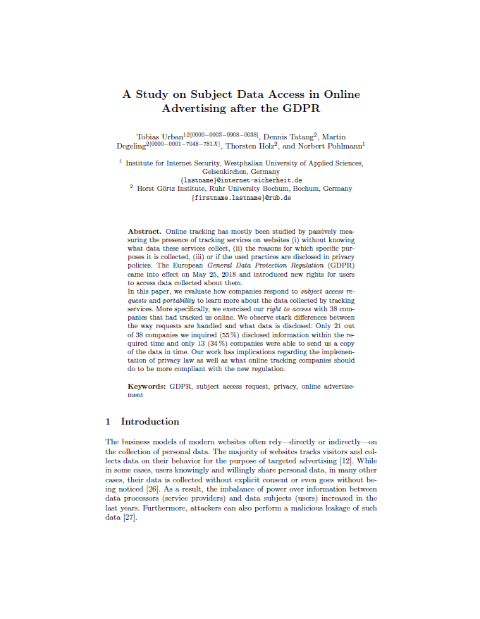 Artikel - A Study on Subject Data Access in Online Advertising after the GDPR - Prof. Norbert Pohlmann