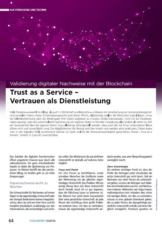 399 - Trust as a Service - Vertrauen als Dienstleistung - Validierung digitaler Nachweise mit der Blockchain - Prof. Norbert Pohlmann