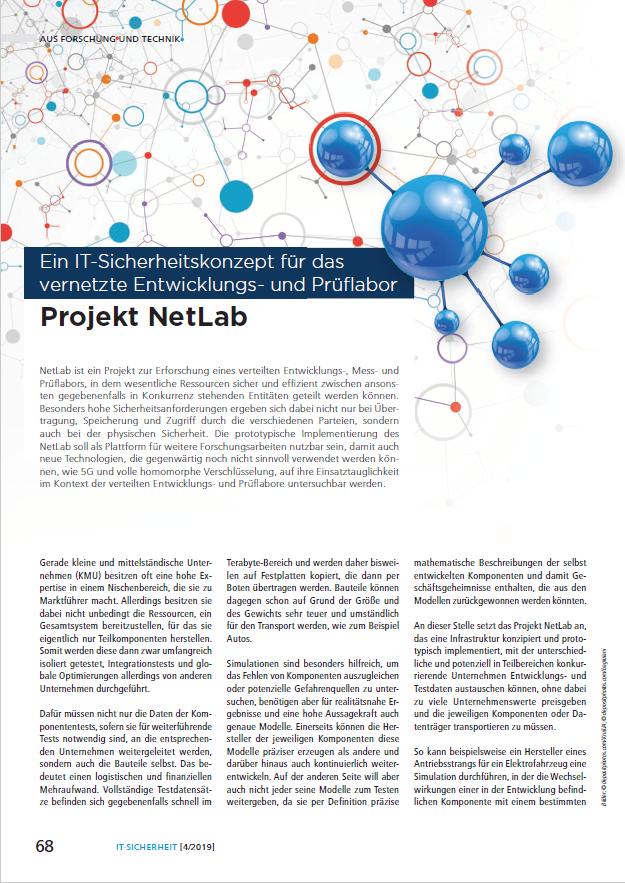 Artikel - Projekt NetLab - Ein IT-Sicherheitskonzept für das vernetzte Entwicklungs- und Prüflabor - Prof. Norbert Pohlmann