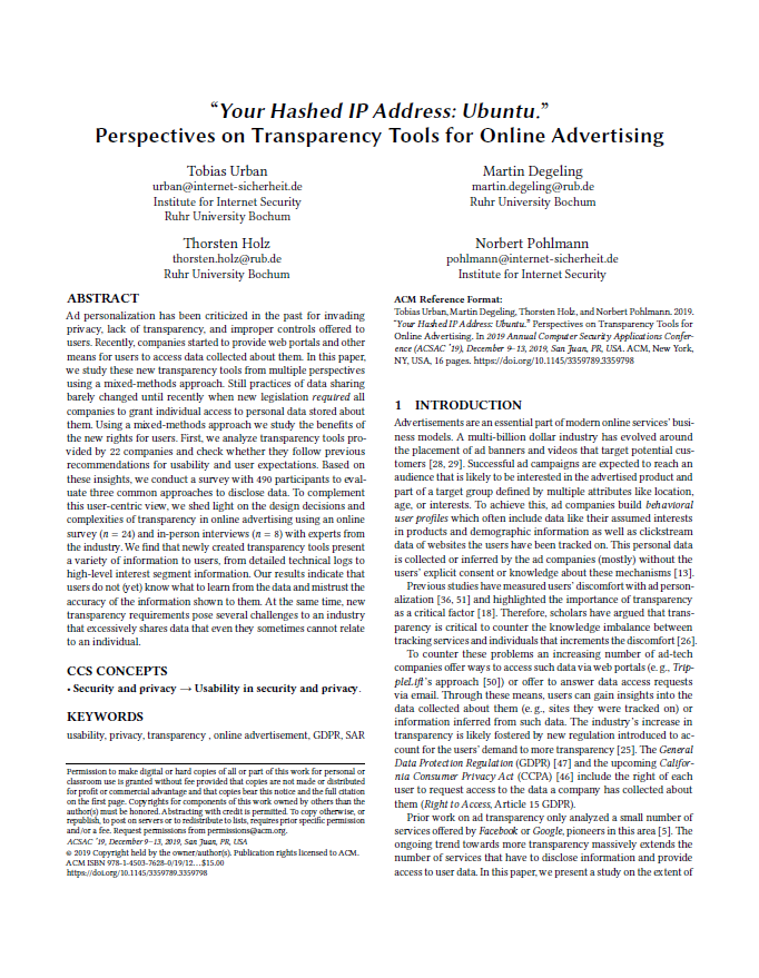 Artikel - Your Hashed IP Address - Ubuntu - Perspectives on Transparency Tools for Online Advertising - Prof. Norbert Pohlmann