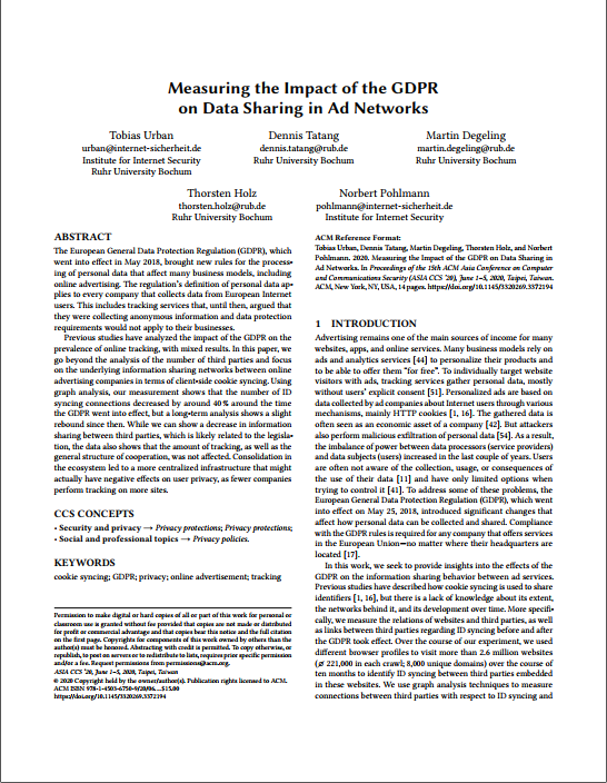Artikel - Measuring the Impact of the GDPR on Data Sharing in Ad Networks - Prof. Norbert Pohlmann