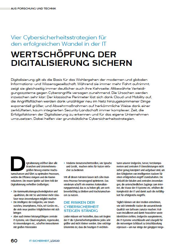 Artikel Wertschöpfung der Digitalisierung sichern - Vier Cybersicherheitsstrategien für den erfolgreichen Wandel in der IT - Prof. Norbert Pohlmann