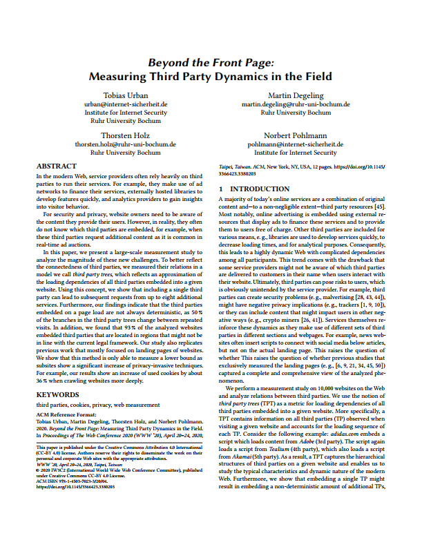 Artikel Beyond the Front Page - Measuring Third Party Dynamics in the Field - - Prof. Norbert Pohlmann