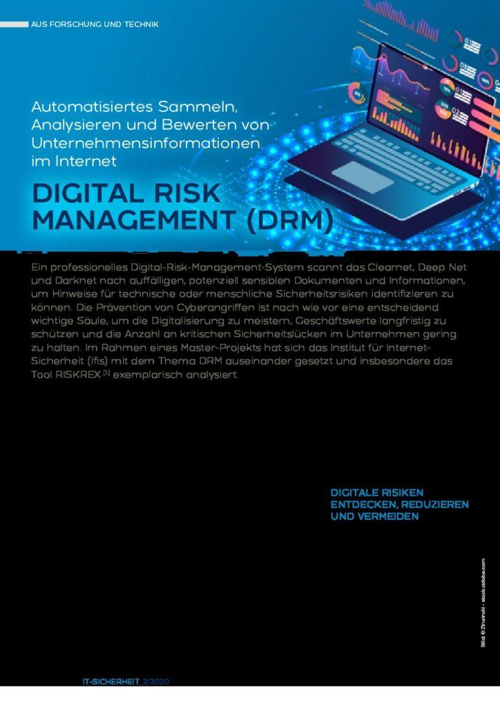DIGITAL RISK MANAGEMENT DRM Automatisiertes Sammeln Analysieren und Bewerten von Unternehmensinformationen im Internet - Prof. Norbert Pohlmann