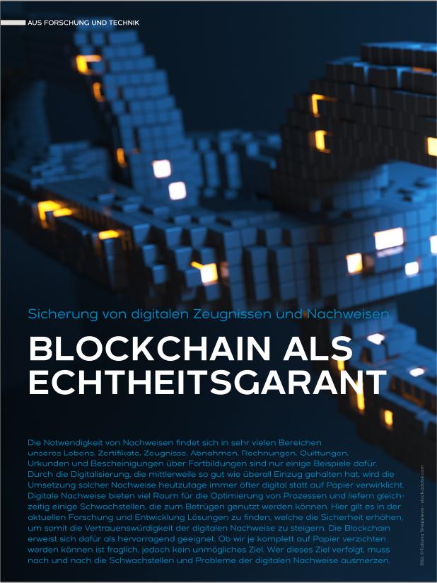 Blockchain als Echtheitsgarant - Sicherung von digitalen Zeugnissen und Nachweisen