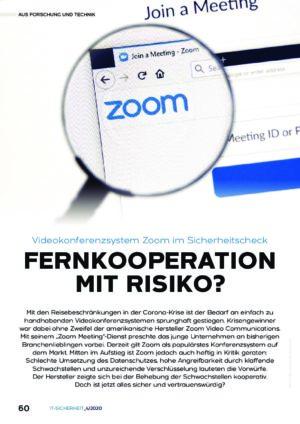 Videokonferenzsystem Zoom im Sicherheitscheck - Prof. Norbert Pohlmann