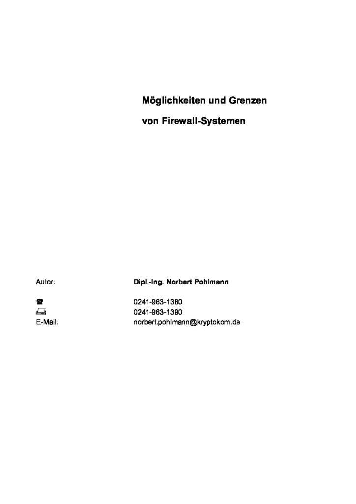 Artikel - Möglichkeiten und Grenzen von Firewall-Systemen - Prof. Norbert Pohlmann