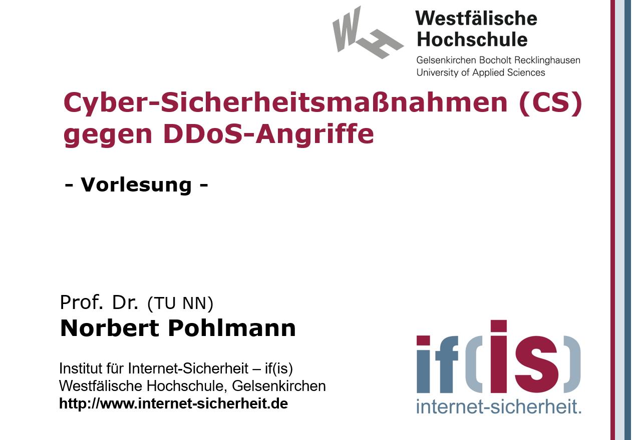 Vorlesung - Cyber-Sicherheitsmaßnahmen gegen DDoS-Angriffe - Vorlesung 23_08_19