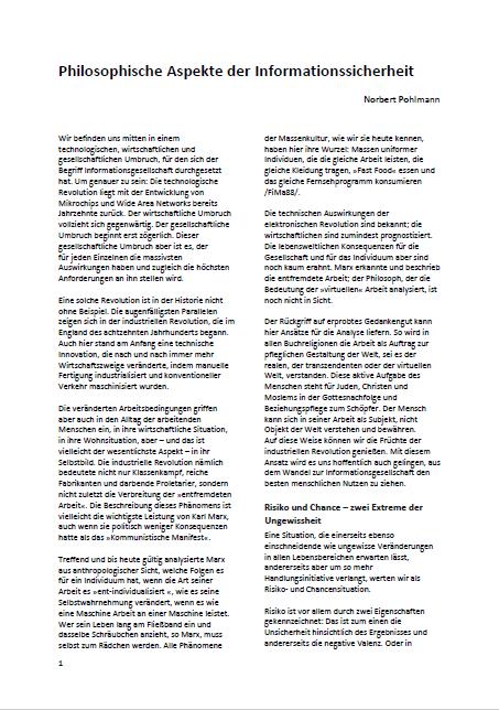 Artikel -Philosophische Aspekte der Informationssicherheit - Prof. Norbert Pohlmann