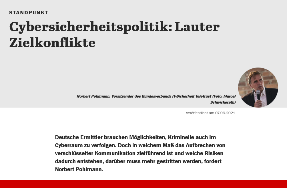 Cybersicherheitspolitik Lauter Zielkonflikte - Prof. Norbert Pohlmann
