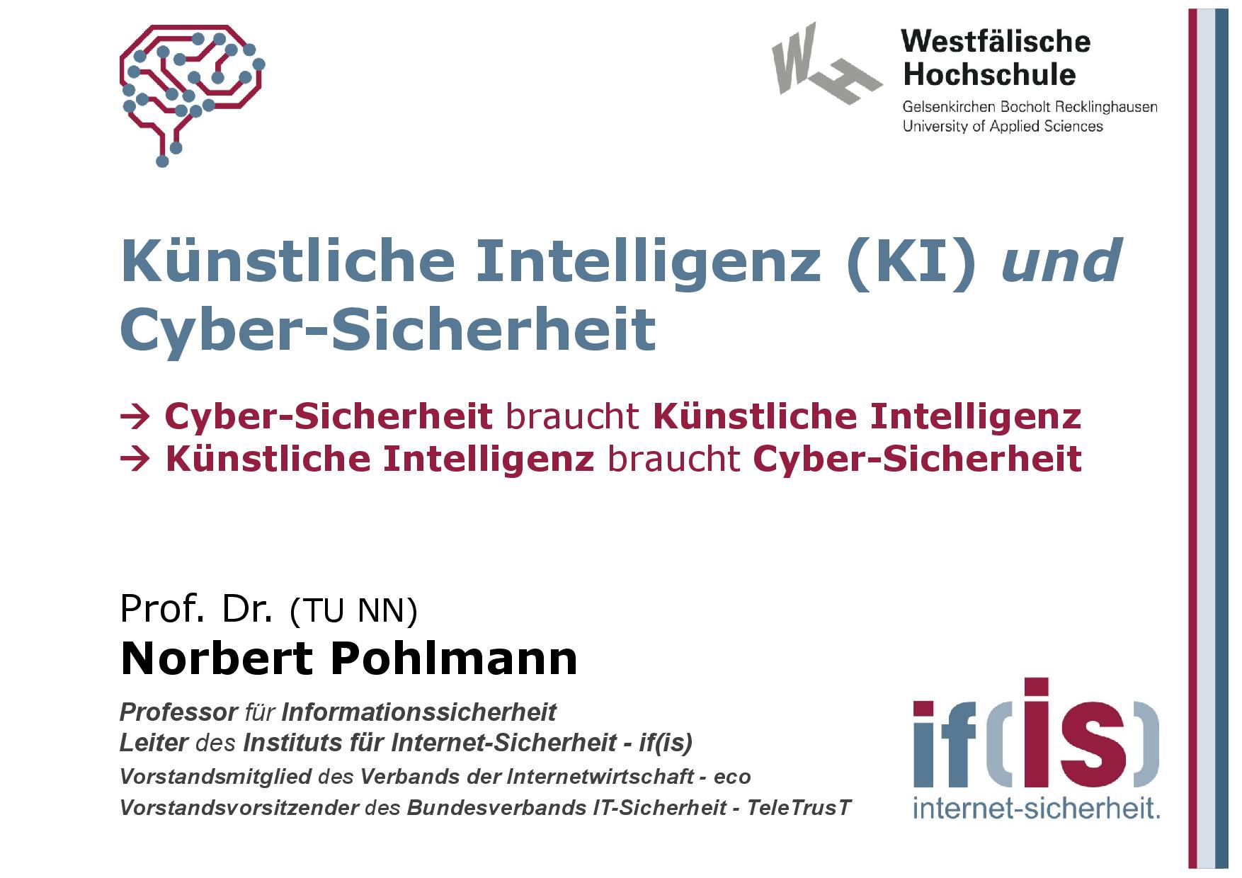 391 - Künstliche Intelligenz (KI) und Cybersicherheit - Prof Norbert Pohlmann-001