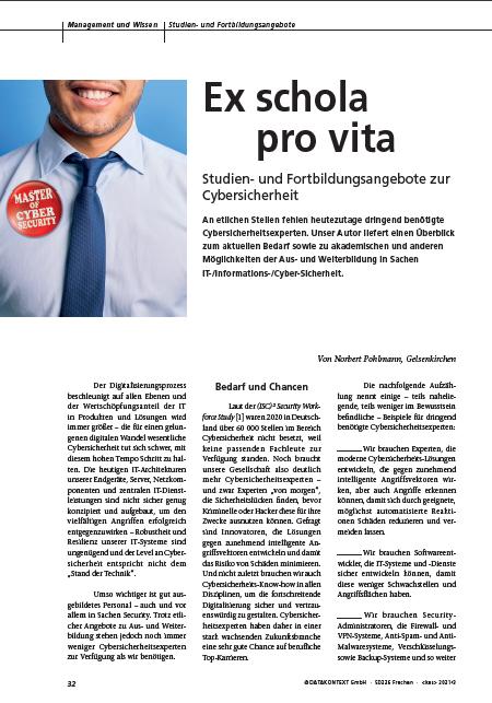 429 - Ex schola pro vita – Studien- und Fortbildungsangebote zur Cybersicherheit - Prof Norbert Pohlmann