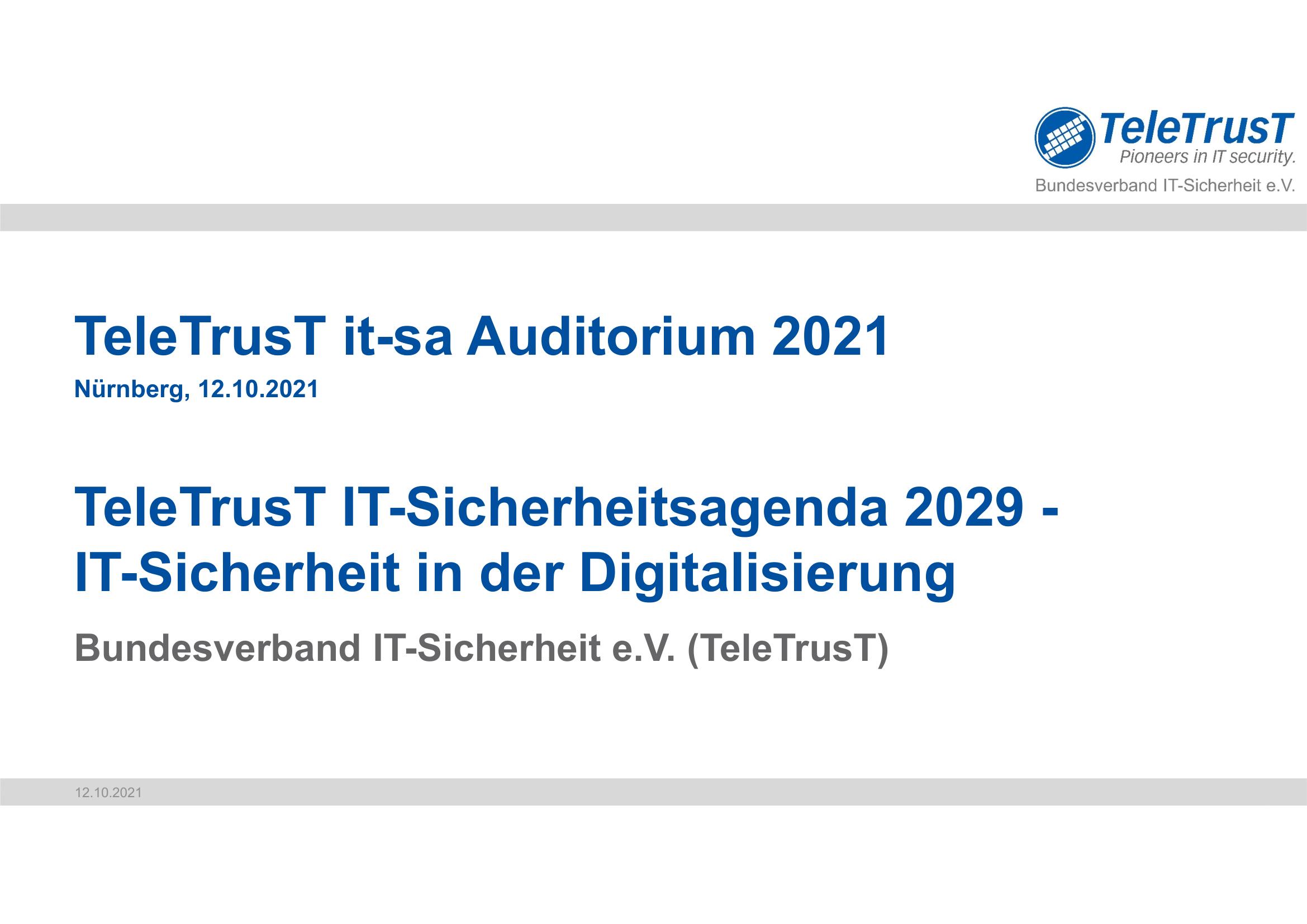 398 - TeleTrusT - IT-Sicherheitsagenda 2029 - IT-Sicherheit in der Digitalisierung - Prof Norbert Pohlmann