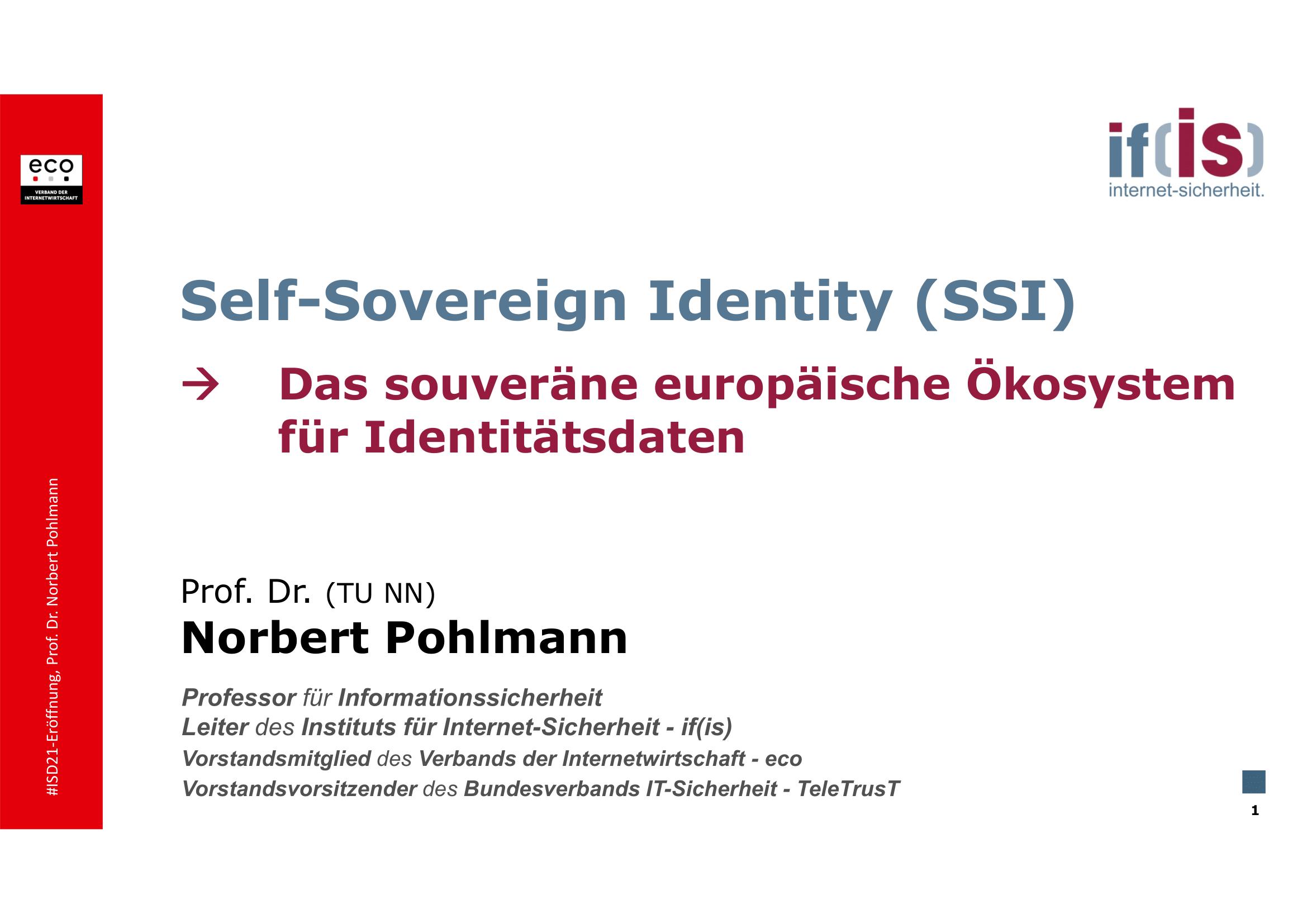 394 - Self-Sovereign Identity (SSI) - Das souveräne europäische Ökosystem - Prof Norbert Pohlmann