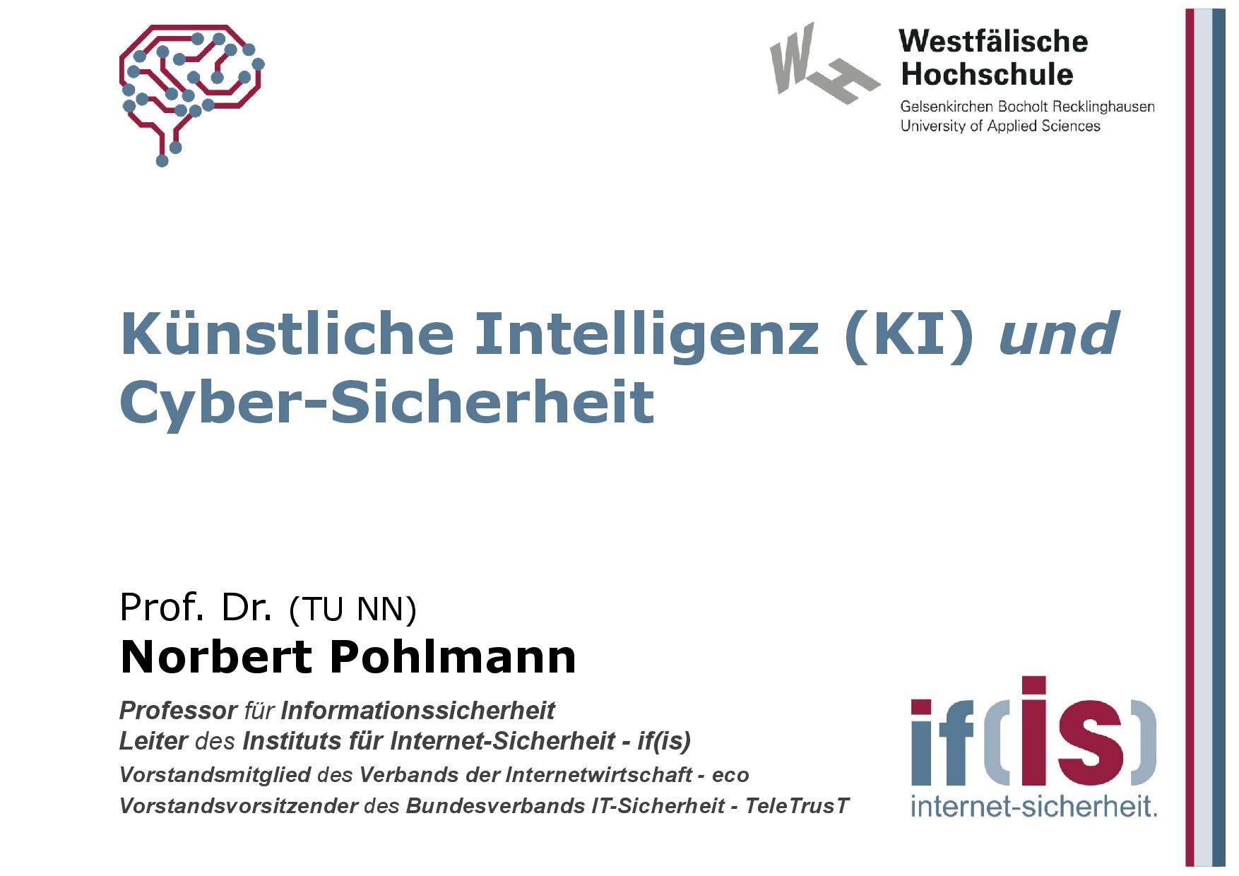 395 - Künstliche Intelligenz (KI) und Cyber-Sicherheit - Prof Norbert Pohlmann